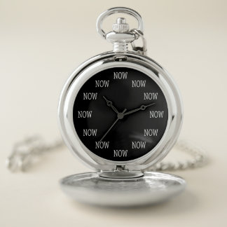 The Time is NOW pocket watch (white lettering)