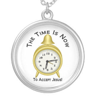The time is now to accept Jesus alarm clock Round Pendant Necklace