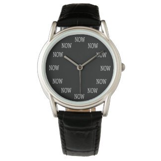 The Time is NOW wristwatch: White letters on black Wristwatch