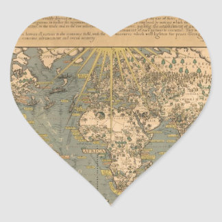 "The ""Time & Tide"" Map of The Atlantic Charter Heart Sticker"
