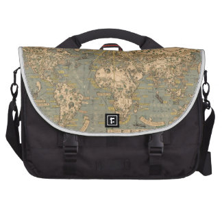 """The """"Time & Tide"""" Map of The Atlantic Charter Laptop Messenger Bag"""