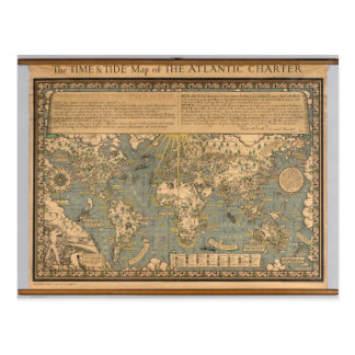 """The """"Time & Tide"""" Map of The Atlantic Charter Postcard"""