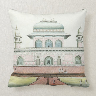 The Tomb of Itimad-Ud-Daula, near Agra, c.1830s (w Throw Pillow