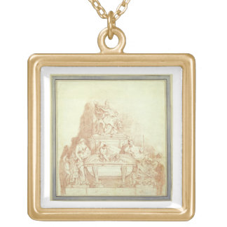 The Tomb of Pope Urban VIII (1568-1644) by Gianlor Gold Plated Necklace