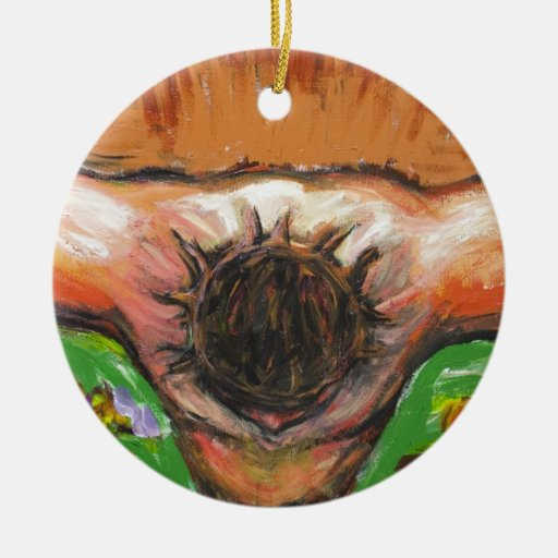 The top view Crucifixion of Jesus Christ Double-Sided Ceramic Round Christmas Ornament