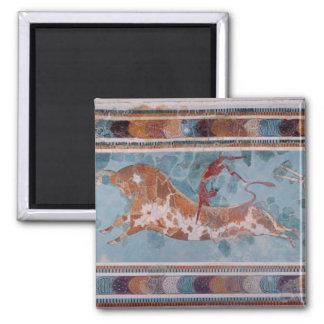 The Toreador Fresco, Knossos Palace, Crete 2 Inch Square Magnet