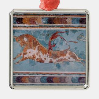 The Toreador Fresco, Knossos Palace, Crete Square Metal Christmas Ornament