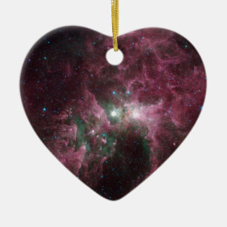 The Tortured Clouds of Eta Carinae Double-Sided Heart Ceramic Christmas Ornament