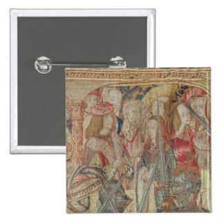 The Tournament, vertical loom tapestry Pinback Button