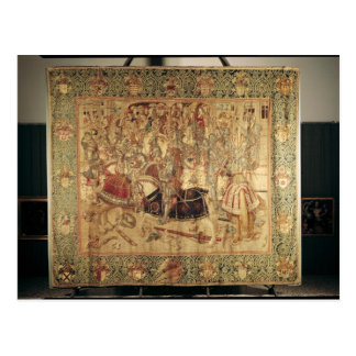 The Tournament, vertical loom tapestry Postcard