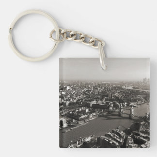 The Tower and Tower Bridge, London - B&W Double-Sided Square Acrylic Keychain
