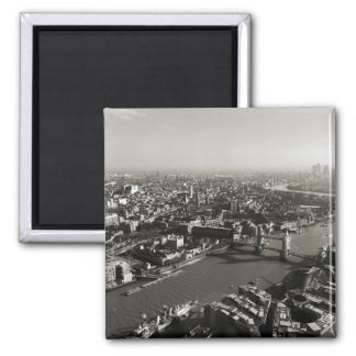 The Tower and Tower Bridge, London - B&W Refrigerator Magnet