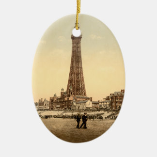 The Tower, Blackpool, England Vintage image Double-Sided Oval Ceramic Christmas Ornament