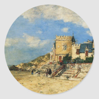 The Tower Malakoff and the Trouville Shore by Euge Classic Round Sticker