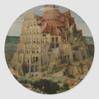 The Tower of Babel by Pieter Bruegel Classic Round Sticker