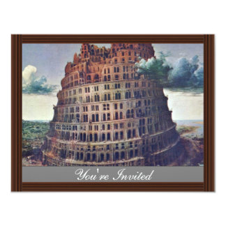The Tower Of Babel. By Pieter Bruegel 4.25x5.5 Paper Invitation Card