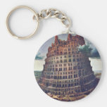The Tower Of Babel. By Pieter Bruegel Basic Round Button Keychain