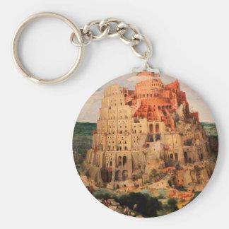 The Tower of Babel by Pieter Bruegel the Elder Basic Round Button Keychain