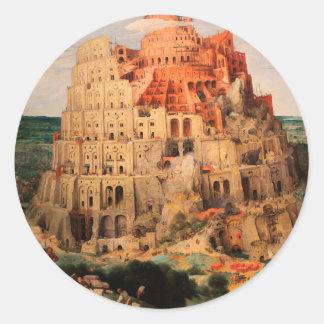 The Tower of Babel by Pieter Bruegel the Elder Classic Round Sticker