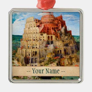 The Tower of Babel Pieter Bruegel the Elder art Square Metal Christmas Ornament