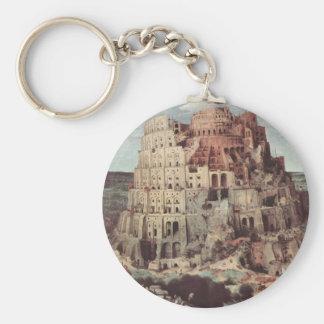 The Tower of Babel - Pieter Bruegel the Elder Basic Round Button Keychain