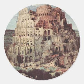 The Tower of Babel - Pieter Bruegel the Elder Classic Round Sticker