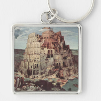The Tower of Babel - Pieter Bruegel the Elder Silver-Colored Square Keychain