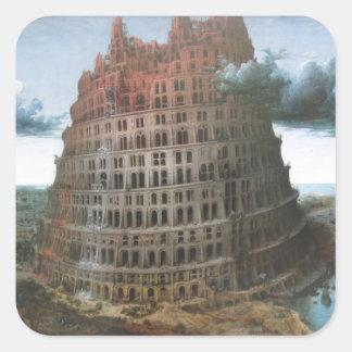 The Tower of Babel - Pieter Bruegel the Elder Square Sticker