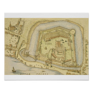 The Tower of London, from a survey made in 1597 by Poster