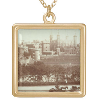 The Tower of London (sepia photo) Gold Plated Necklace