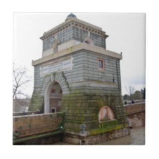 The tower of Ponte Milvio in Rome Ceramic Tile
