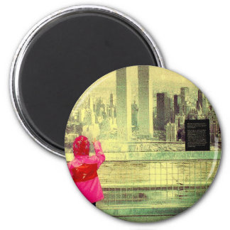 The Towers and a Child 2 Inch Round Magnet