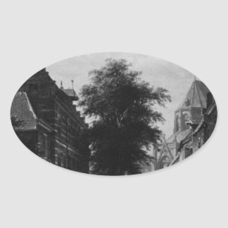 The Town Hall and Market at Naarden by Cornelis Oval Sticker