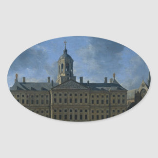 The town hall on the Dam, Amsterdam Oval Sticker