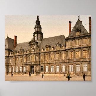 The town hall, Rheims, France classic Photochrom Print