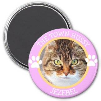 THE TOWN HUSSY CAT Humorous Pawprints Photo Button Magnet