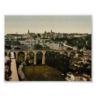 The town, Luxembourg classic Photochrom Poster