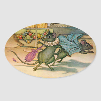 The Town Mouse and The Country Mouse Oval Stickers