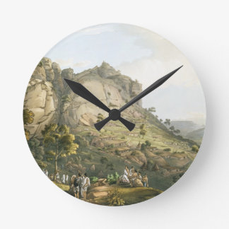 The Town of Abha in Abyssinia, engraved by J. Bluc Round Wall Clocks