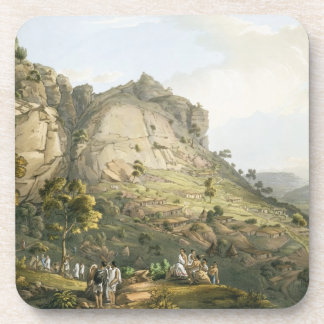 The Town of Abha in Abyssinia, engraved by J. Bluc Beverage Coaster