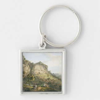 The Town of Abha in Abyssinia, engraved by J. Bluc Keychains