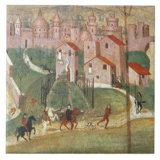 The Town of Prato (fresco) Ceramic Tile