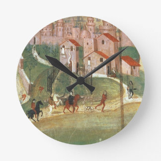 The Town of Prato (fresco) Round Clocks