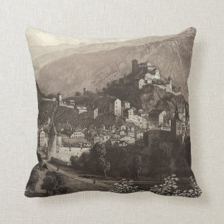 The Town of Sion Rudisuhli Antique Engraving Throw Pillow