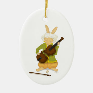 """The Tragedy"" Rabbit with Broken Violin Musician Ceramic Ornament"