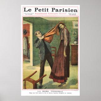 The tragic dress - 1910 French newspaper print