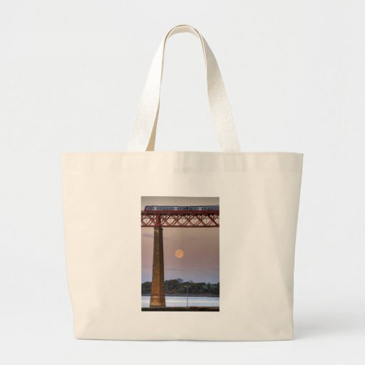 The train flew over the Moon Canvas Bag