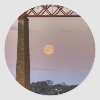 The train flew over the Moon Classic Round Sticker