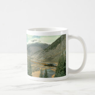 The train is crossing the Animas River after leavi Classic White Coffee Mug