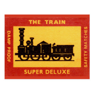 The Train Vintage Match Label Postcards